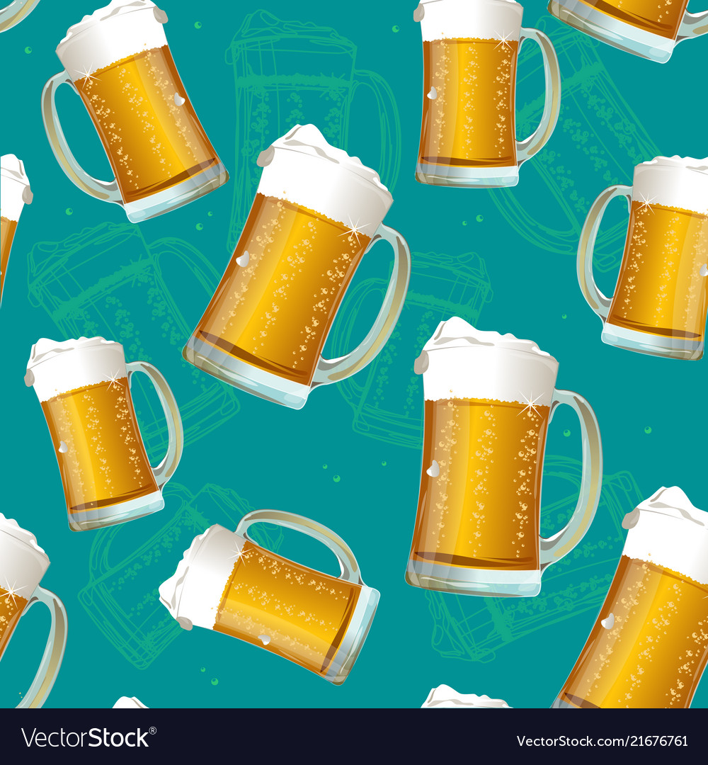 Realistic detailed 3d beer mug seamless pattern