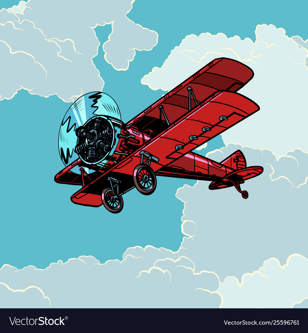 Retro biplane plane flying in clouds
