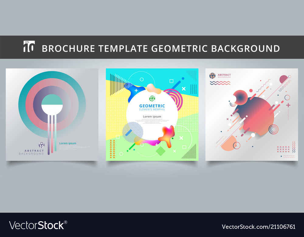 Set template geometric covers design vector image