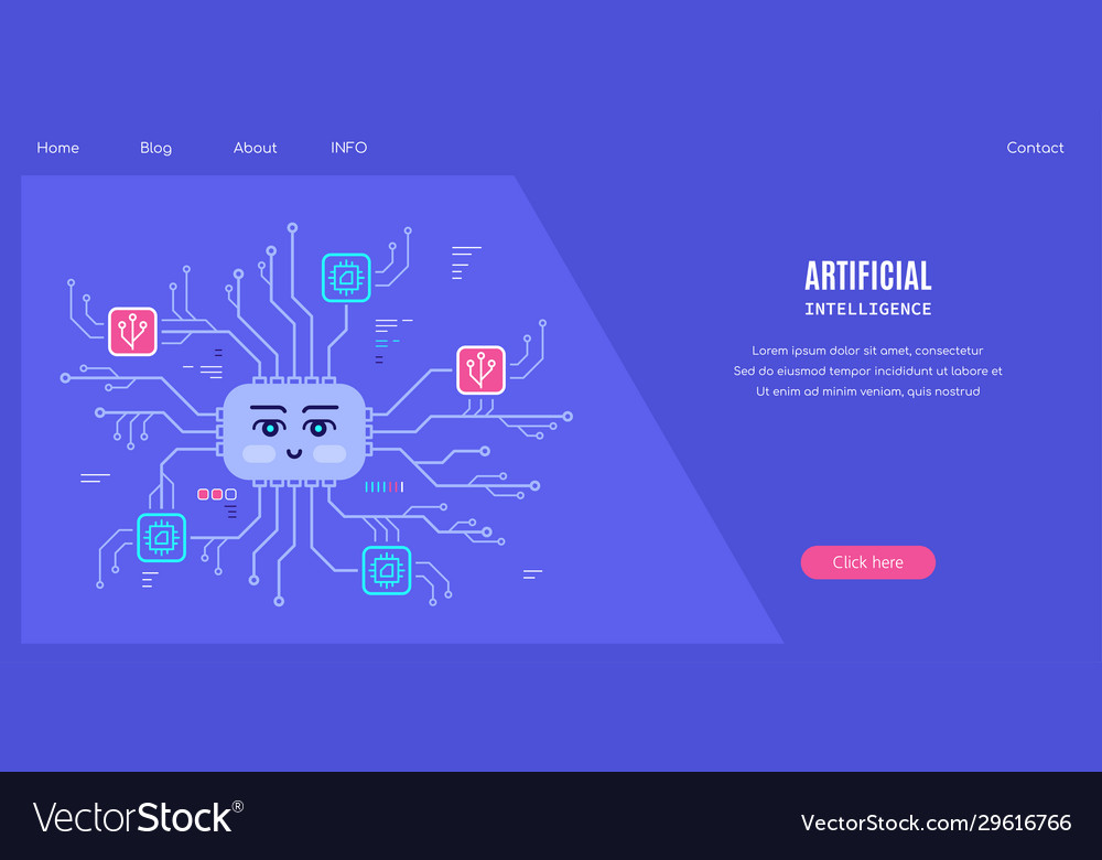 Artificial intelligent concept banner flat style