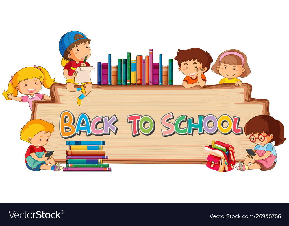 Back to school template on wooden board