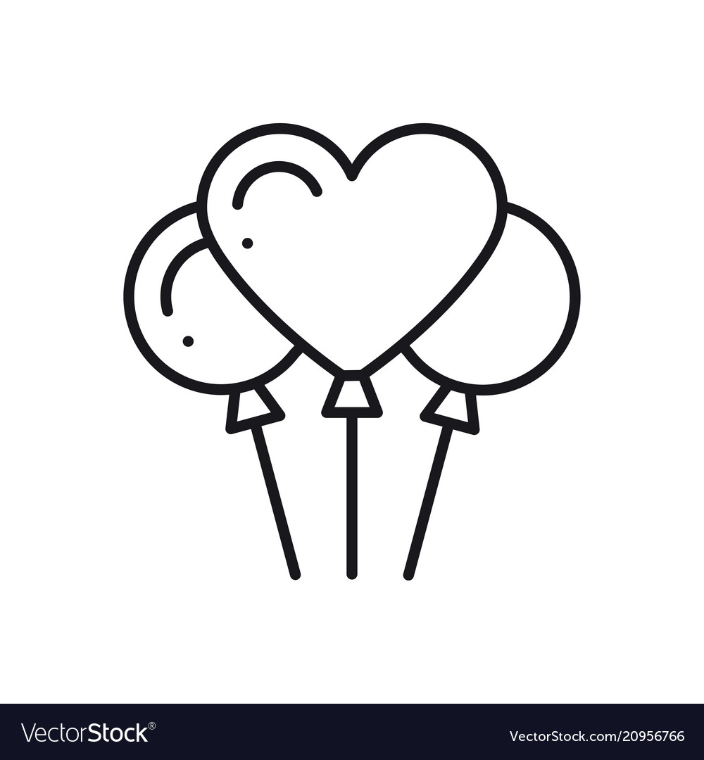 Balloon air balloon line heart icon love sign