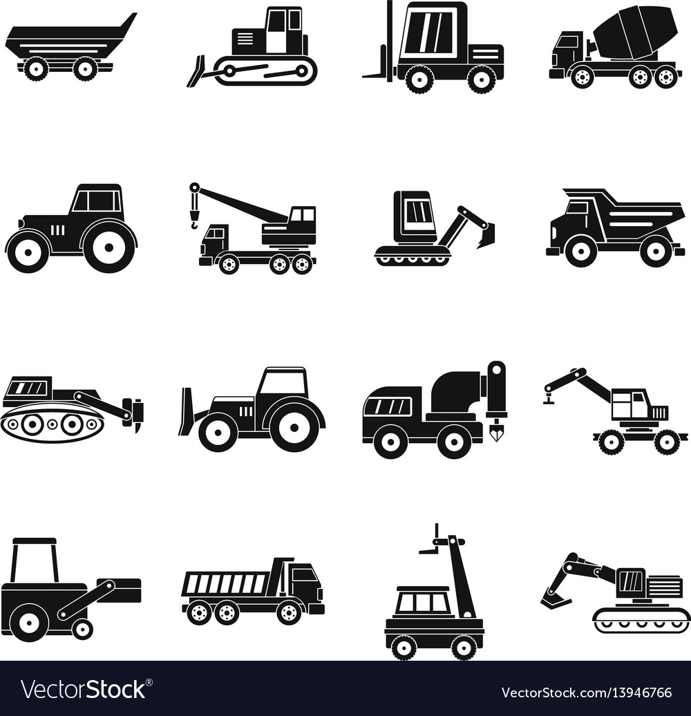 Building vehicles icons set simple style