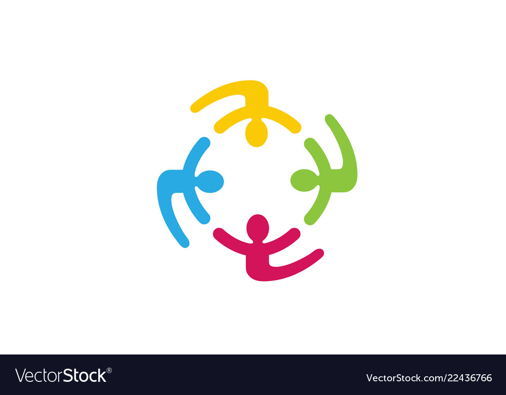 Colorful people group team logo