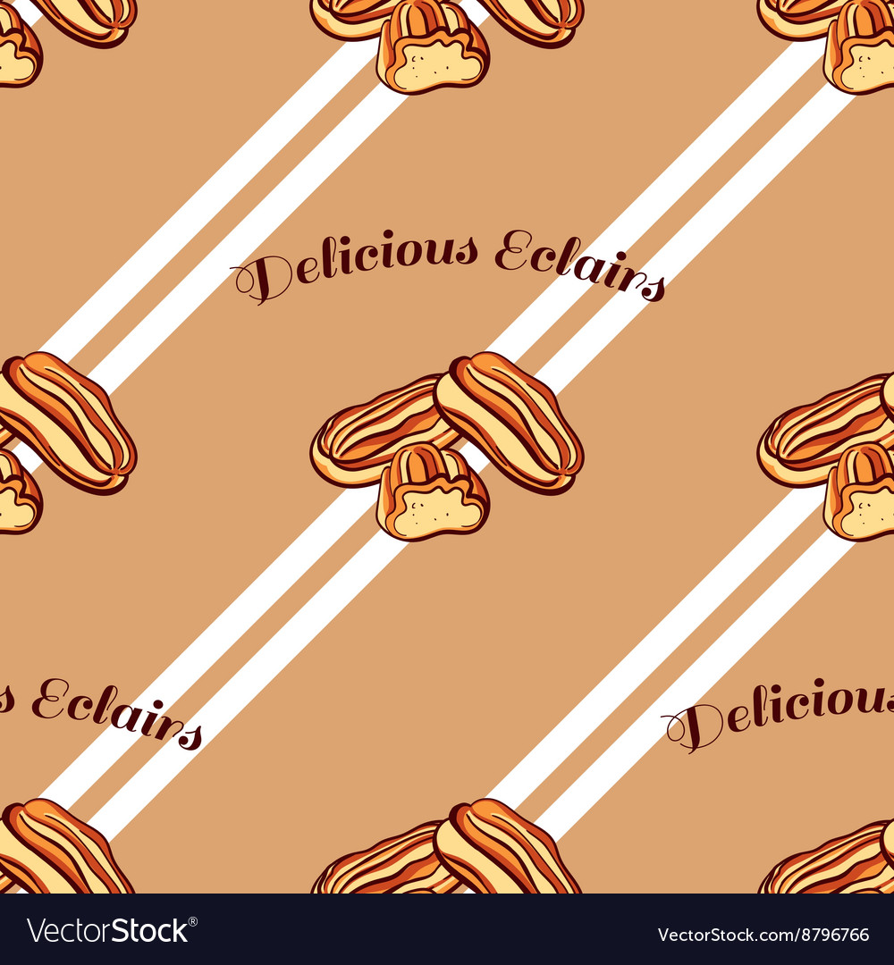 Eclairs Seamless Pattern vector image