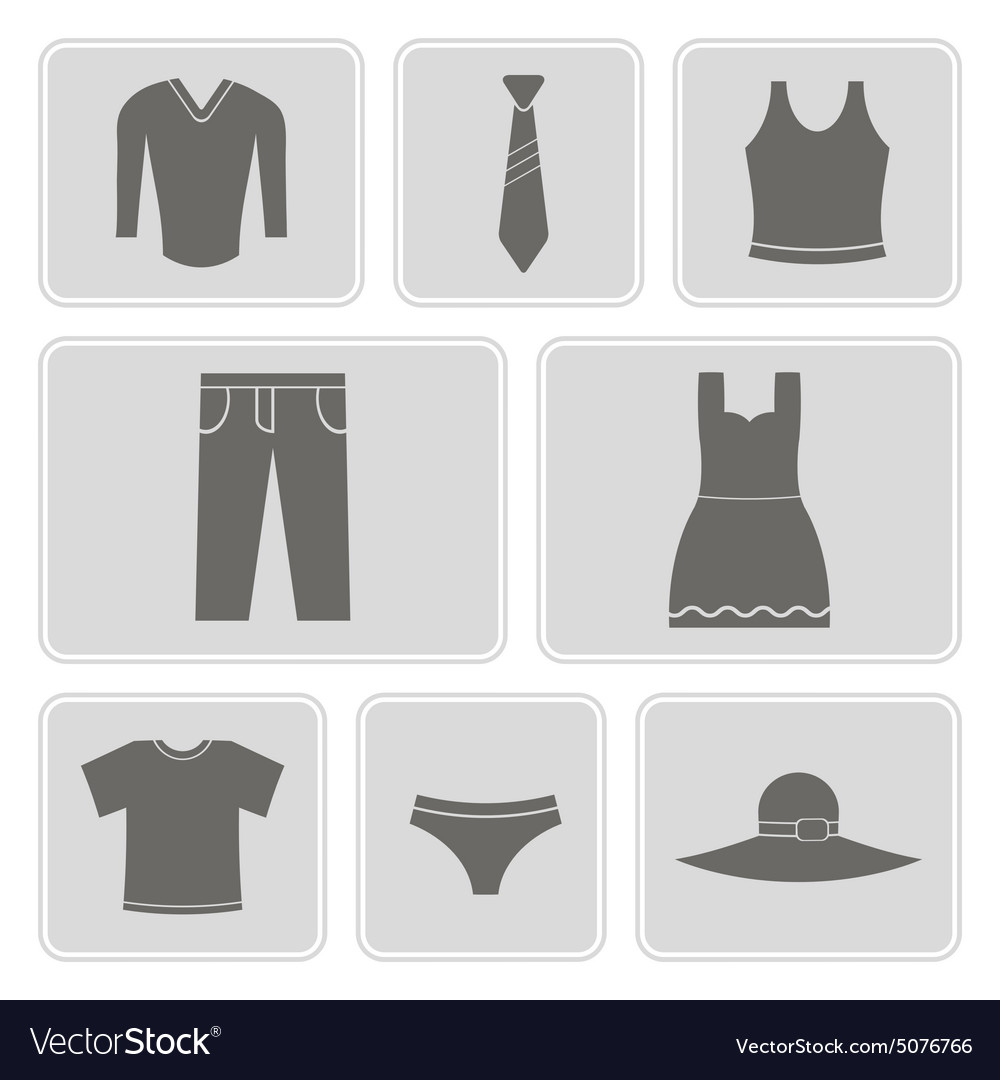 F monochrome icons with garments vector image