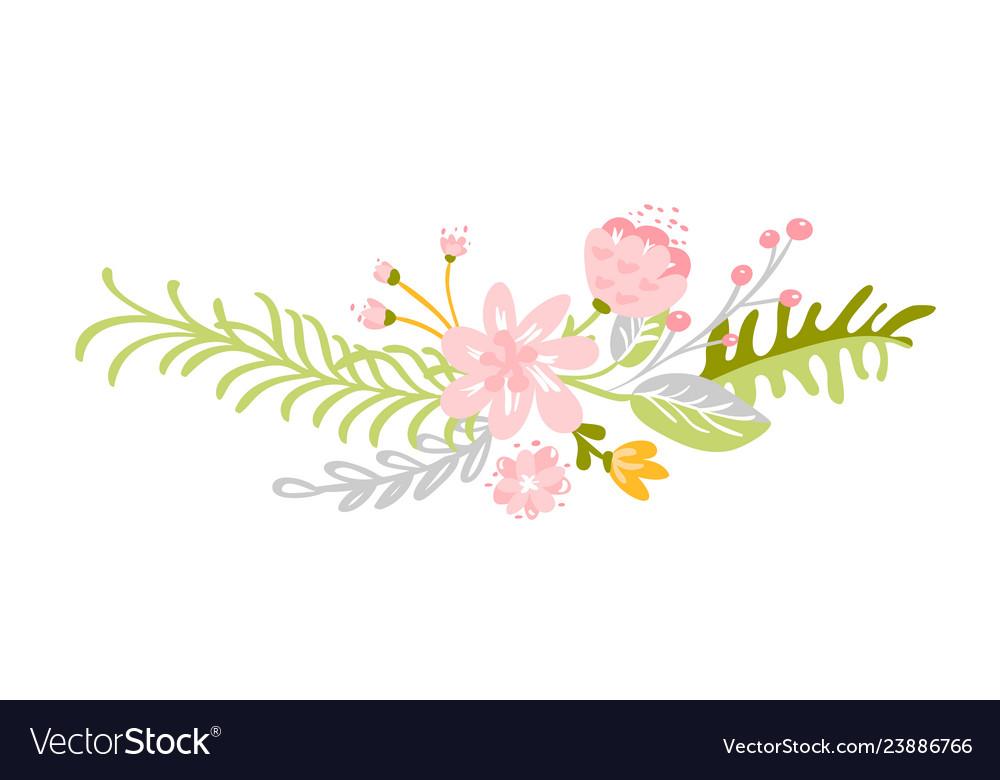 Flat abstract green flower herbs bouquet