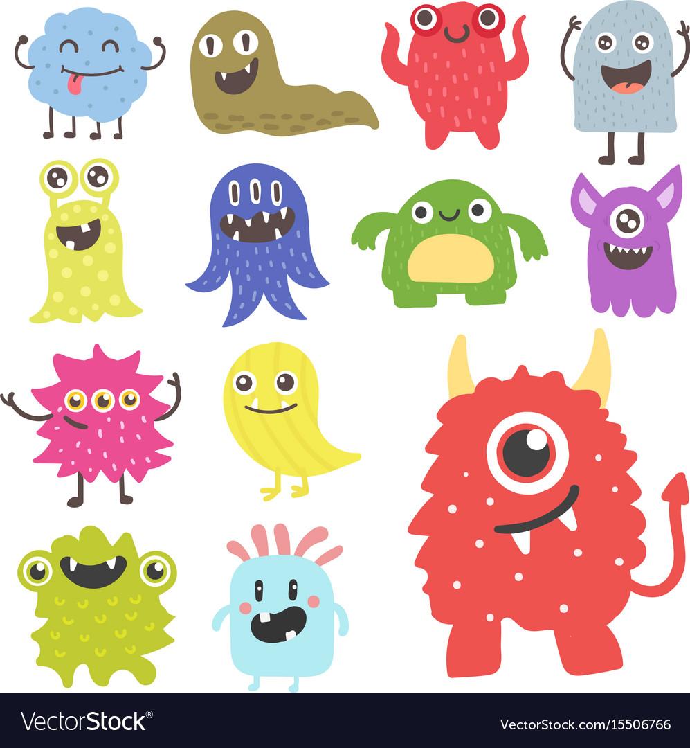 funny cartoon monster cute alien character vector image