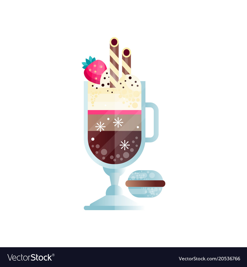 Glass of chilled coffee with ice-cream and ripe