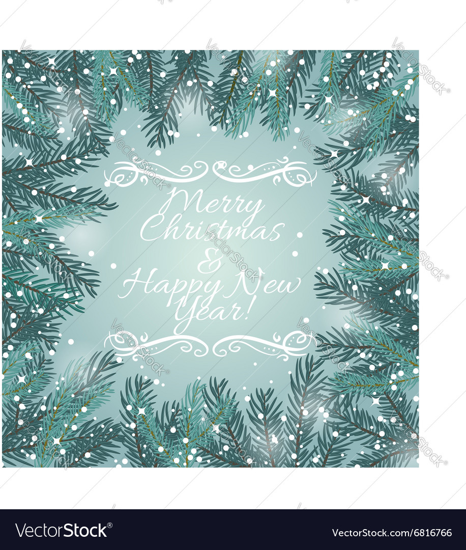 Greeting card with Christmas tree and snowflakes