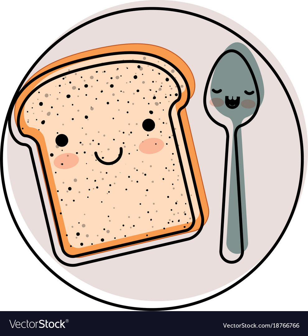 Kawaii Bread Slice And Spoon On Dish In Watercolor