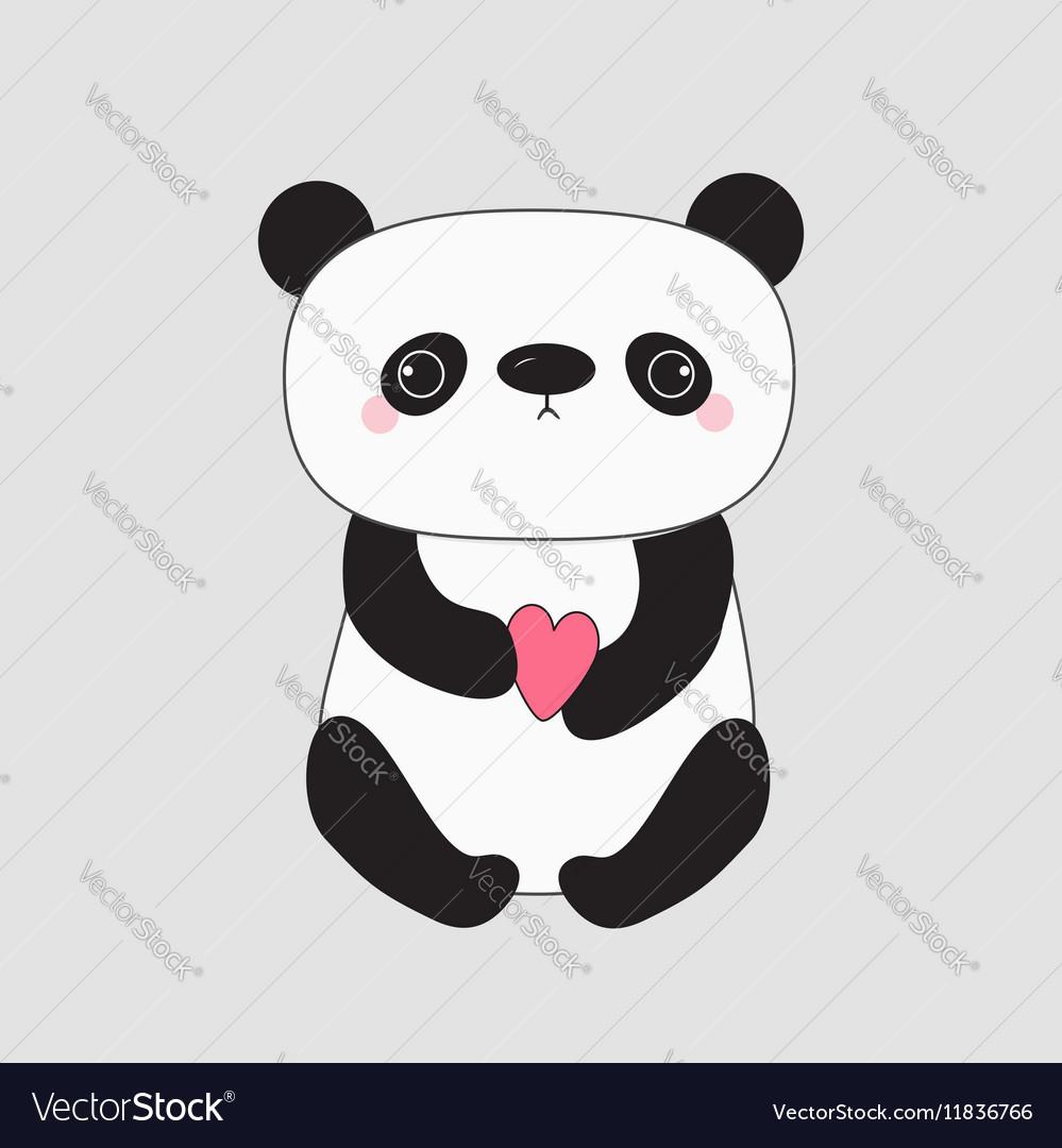 Kawaii Panda Baby Bear Cute Cartoon Character Vector Image