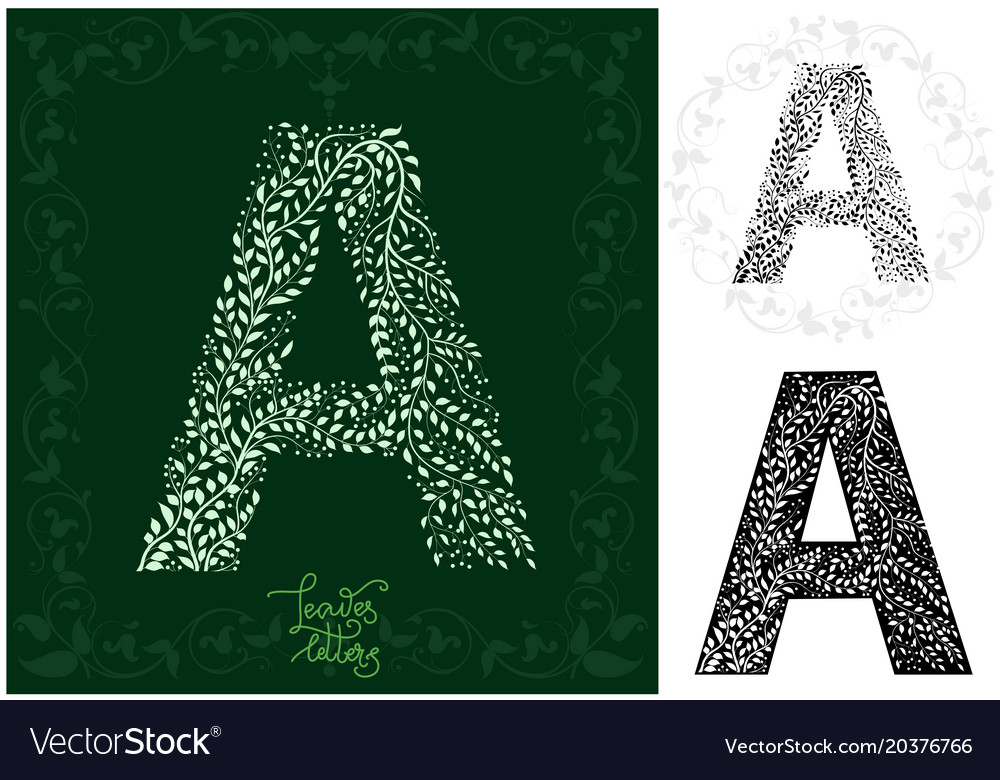 Leaves alphabet letter a vector image