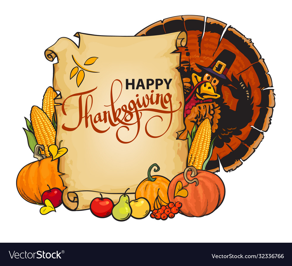 Paper scroll with happy thanksgiving text cartoon