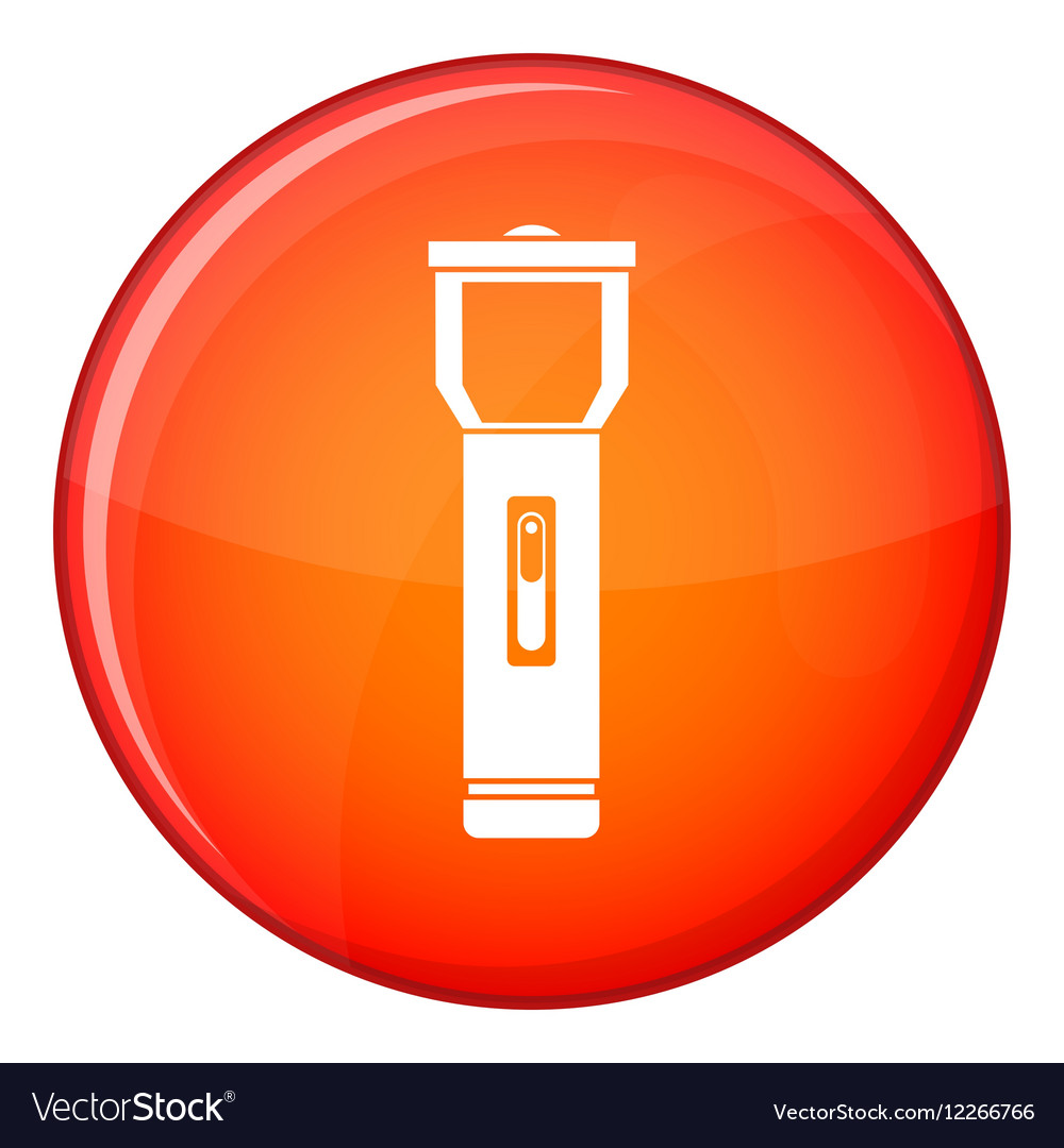 Pocket flashlight icon flat style