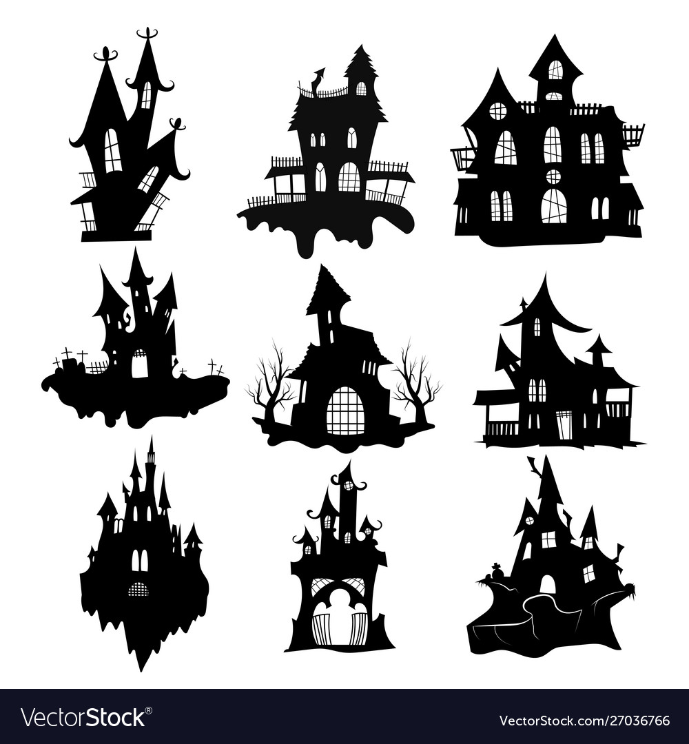 Set haunted houses for halloween collection of