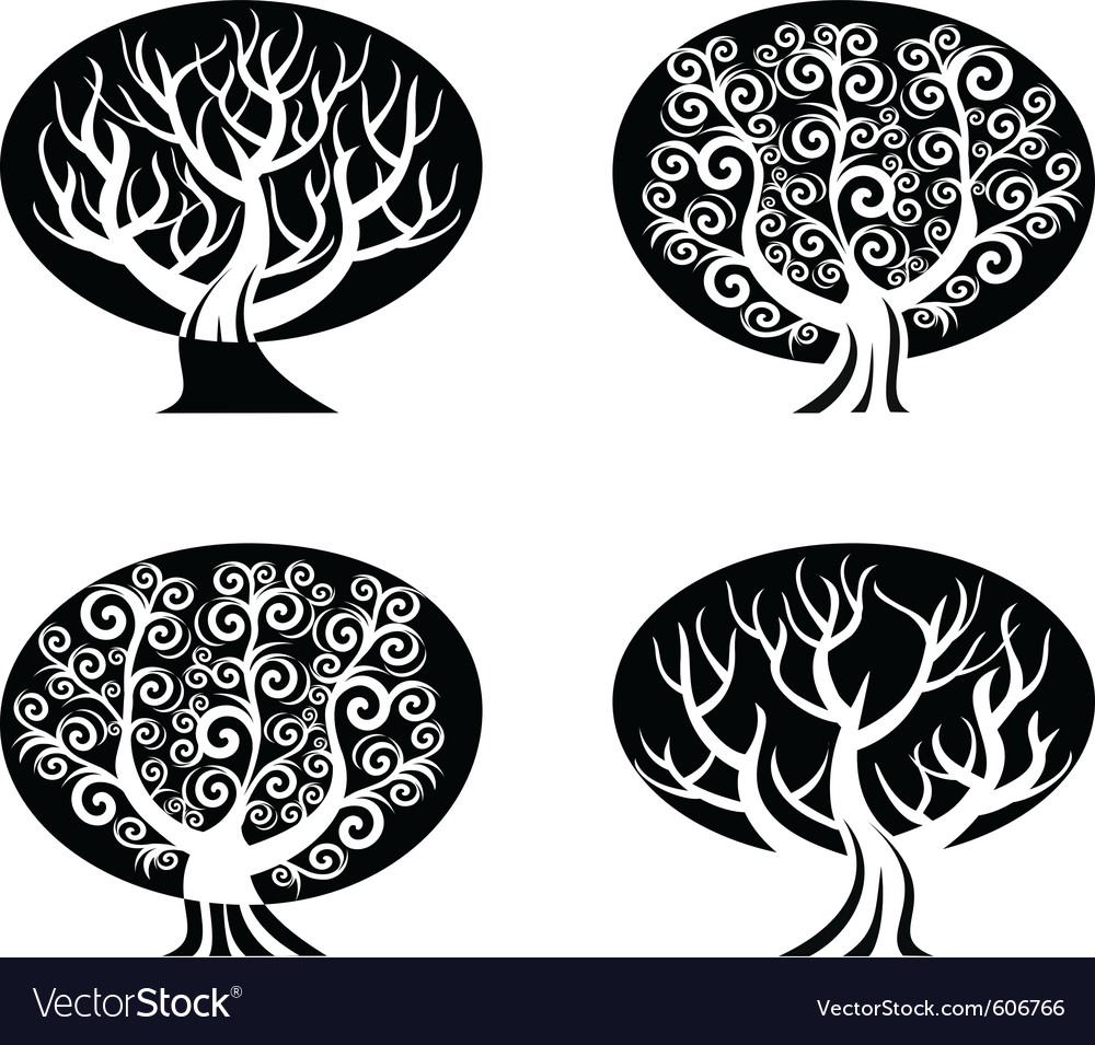 Set Of Black And White Trees Royalty Free Vector Image