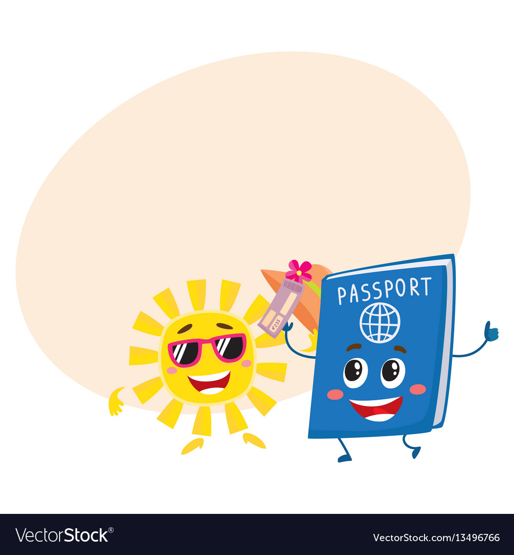 Sun and passport characters holiday summer
