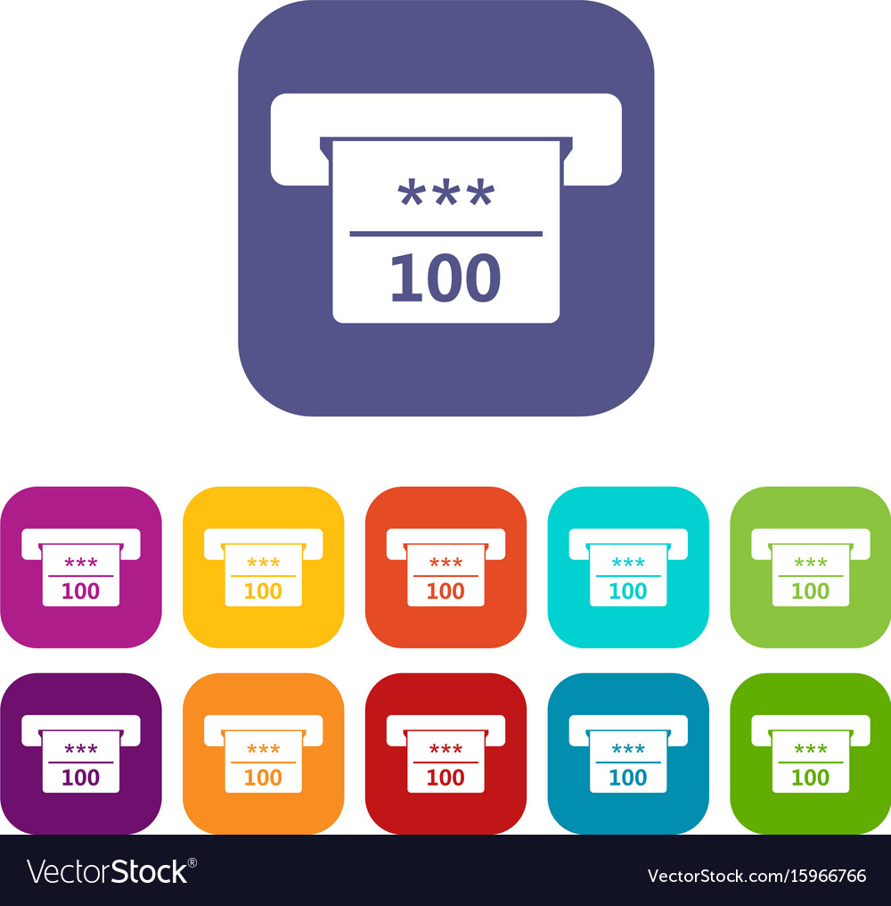 Winning cheque in casino icons set vector image