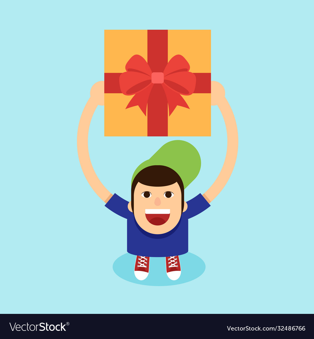 Young man raise gift box his hand above his