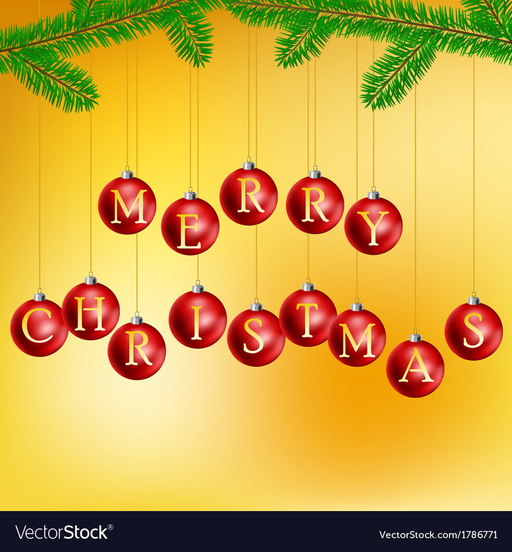 Christmas balls with pine branch vector image