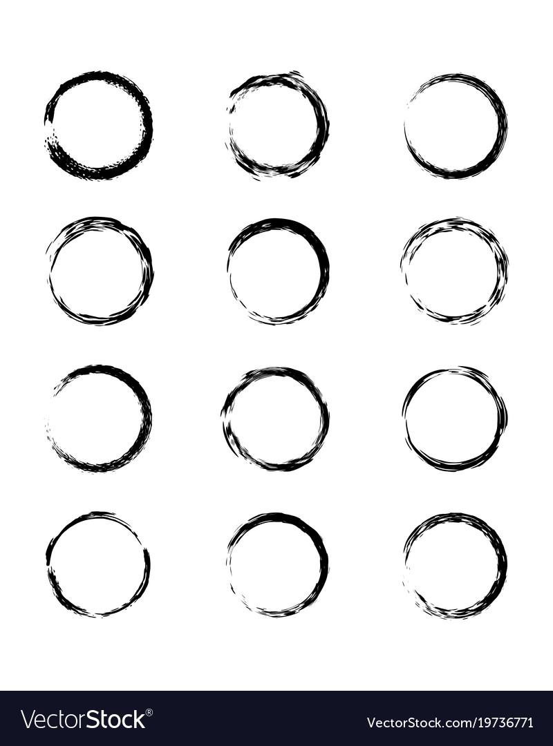 Collection modern grunge black circle frame Vector Image