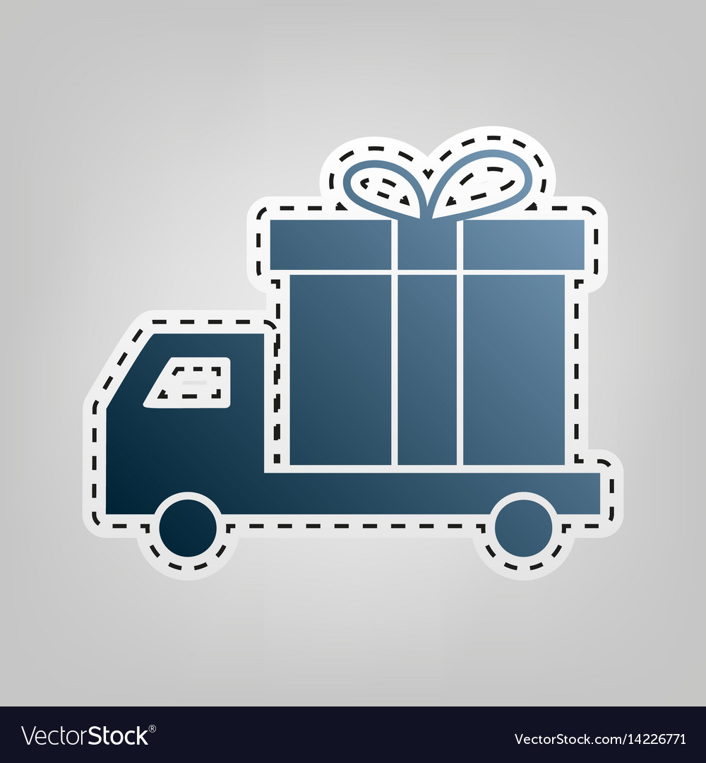 Delivery gift sign blue icon with outline
