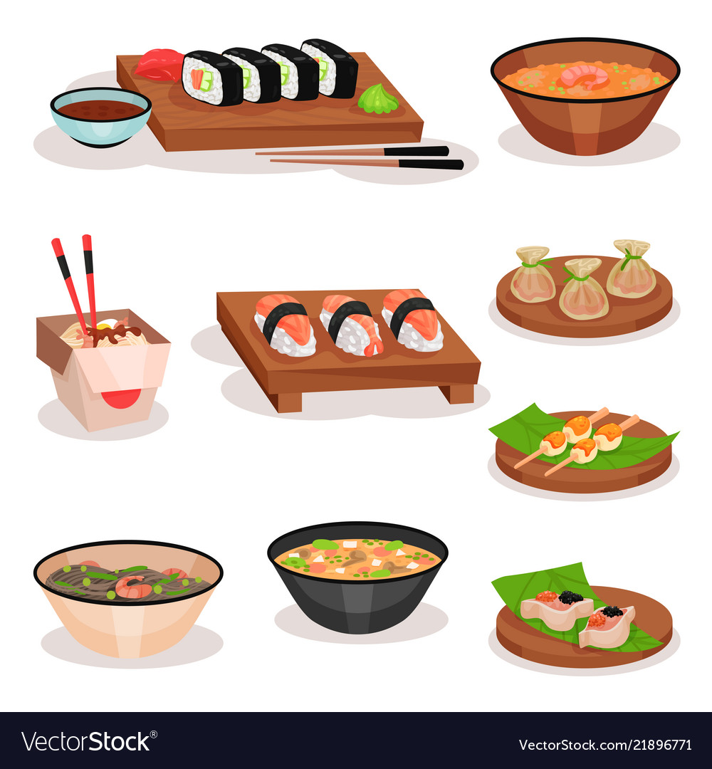 Flat set of different asian dishes sushi