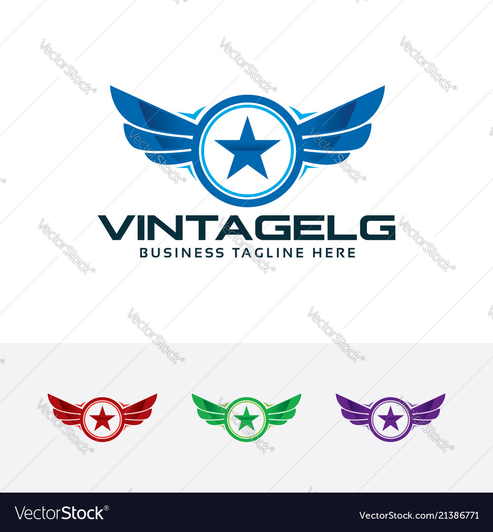 Logo of vintage wings with star