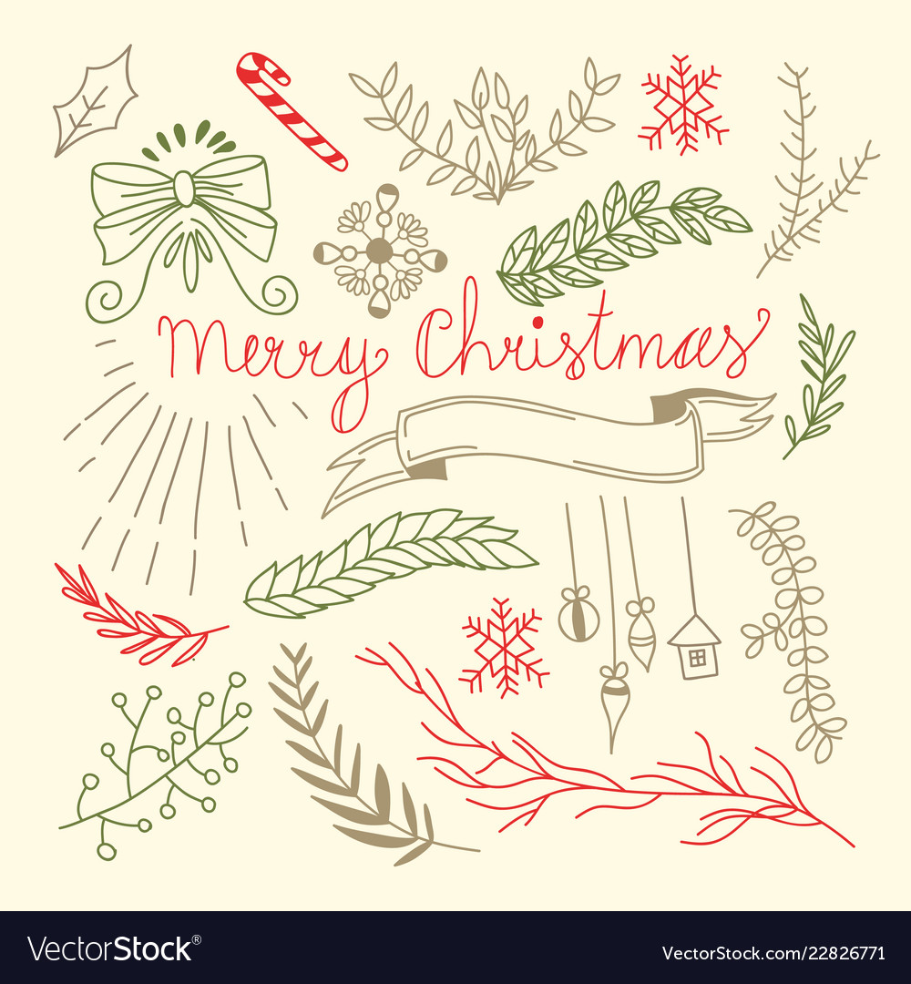 Merry christmas floral hand drawn background