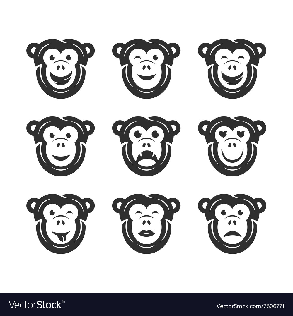 Monkey smiley icons vector image