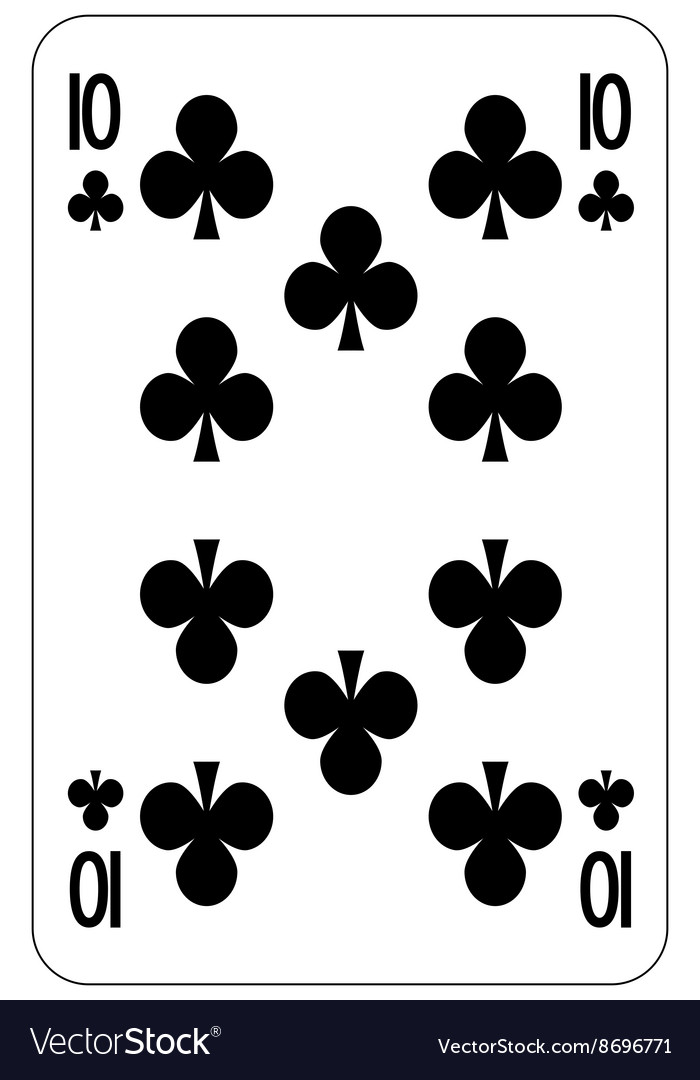 Poker playing card 10 club vector image