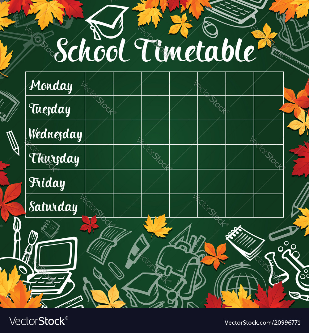 school timetable template of lesson schedule vector image
