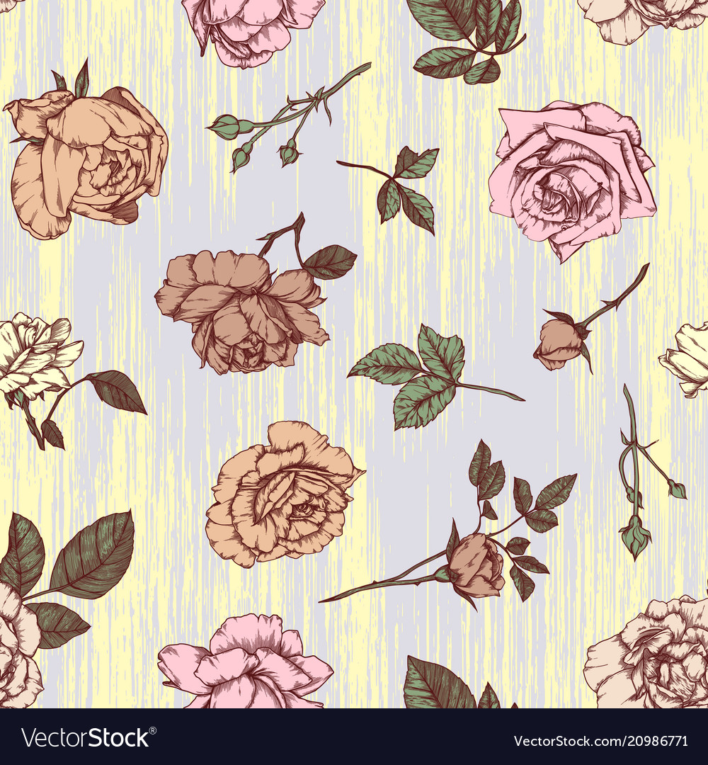 Seamless pattern with roses vintage design