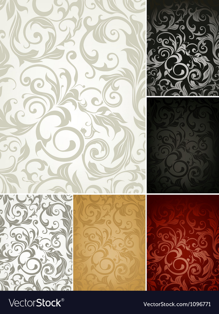 Seamless Wallpaper Pattern set of six colors
