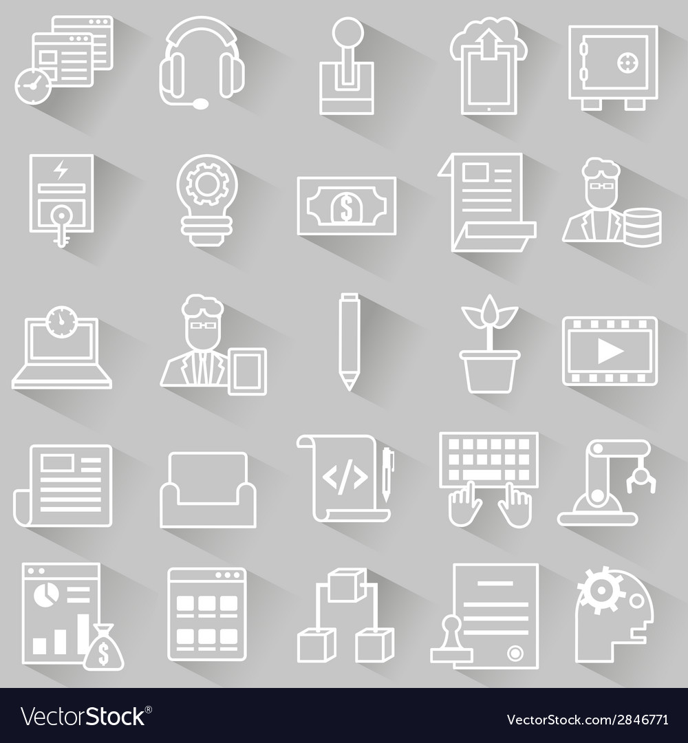 Set of business outline icons with shadow