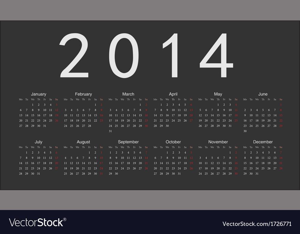 Simple european 2014 year calendar vector image
