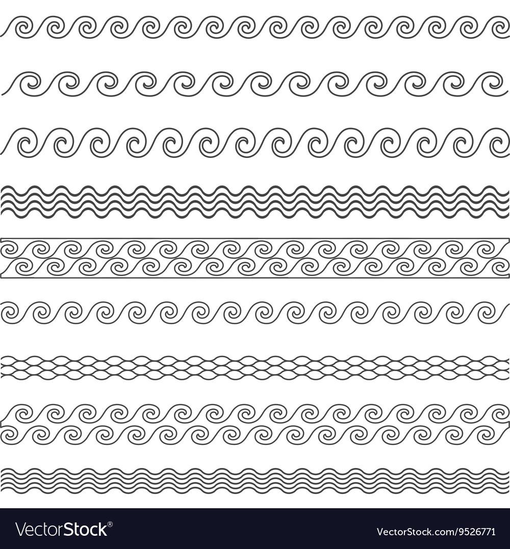 Wave line pattern borders set