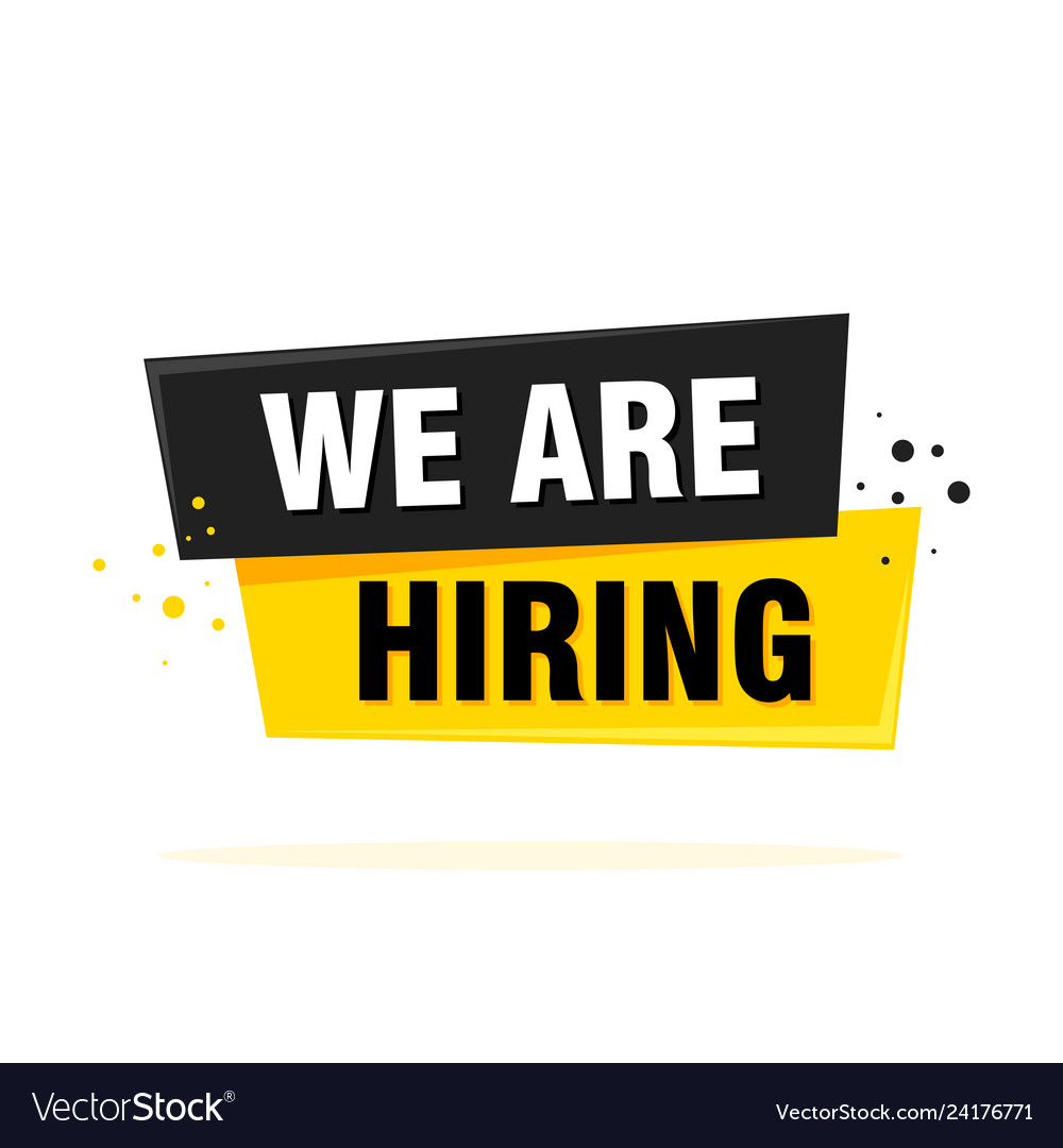 We are hiring label sign black and yellow origami