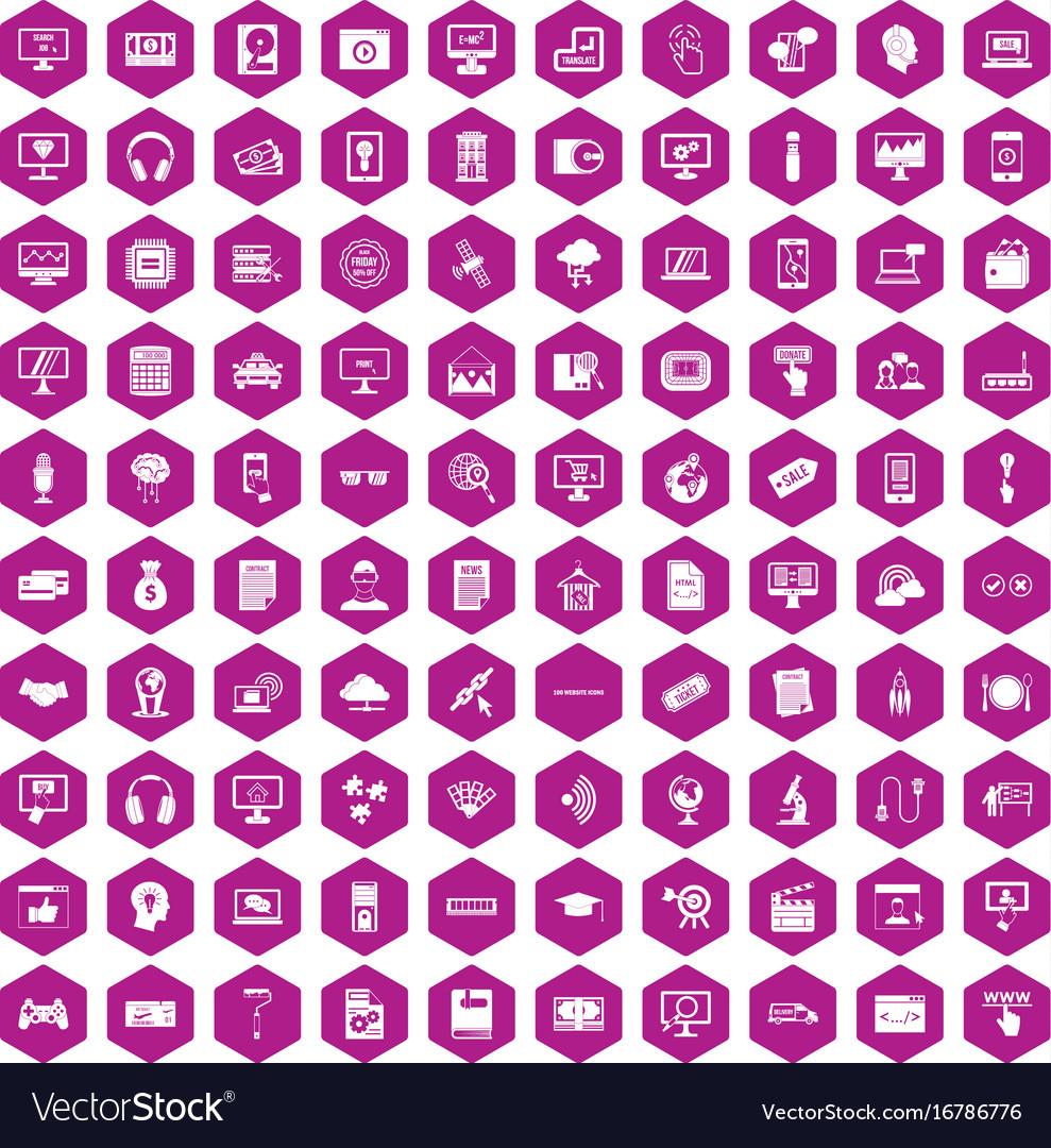 100 website icons hexagon violet