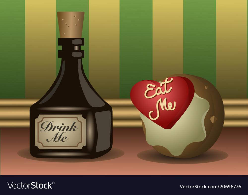 A little bottle and a cookie with labels to eat a