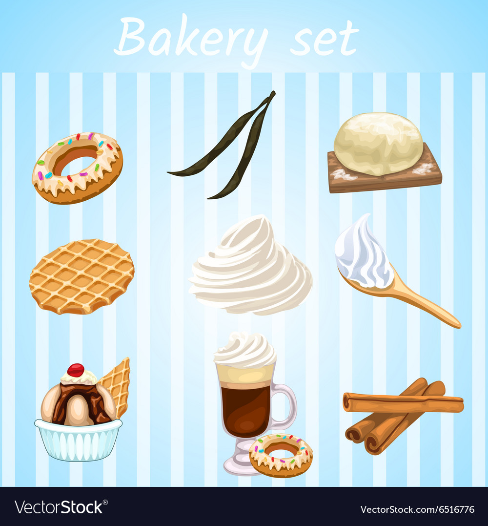 Bakery set - nine isolated sweet icons