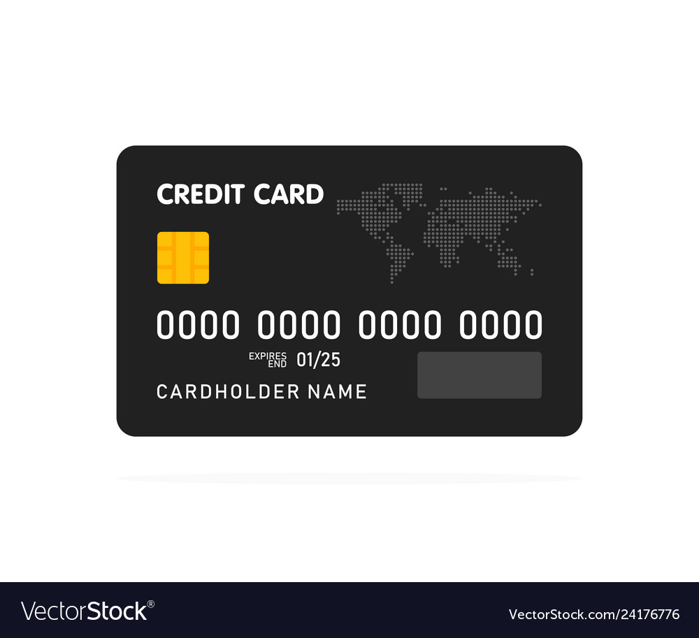 Black simple credit card template on white