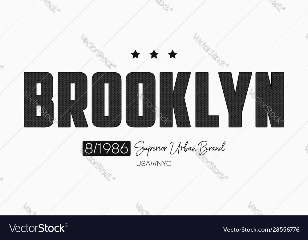 Brooklyn slogan t-shirt design with knitted