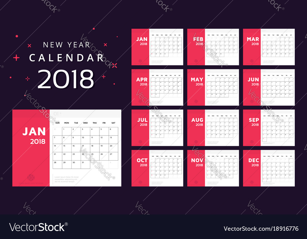 Calendar for 2018 white and red background
