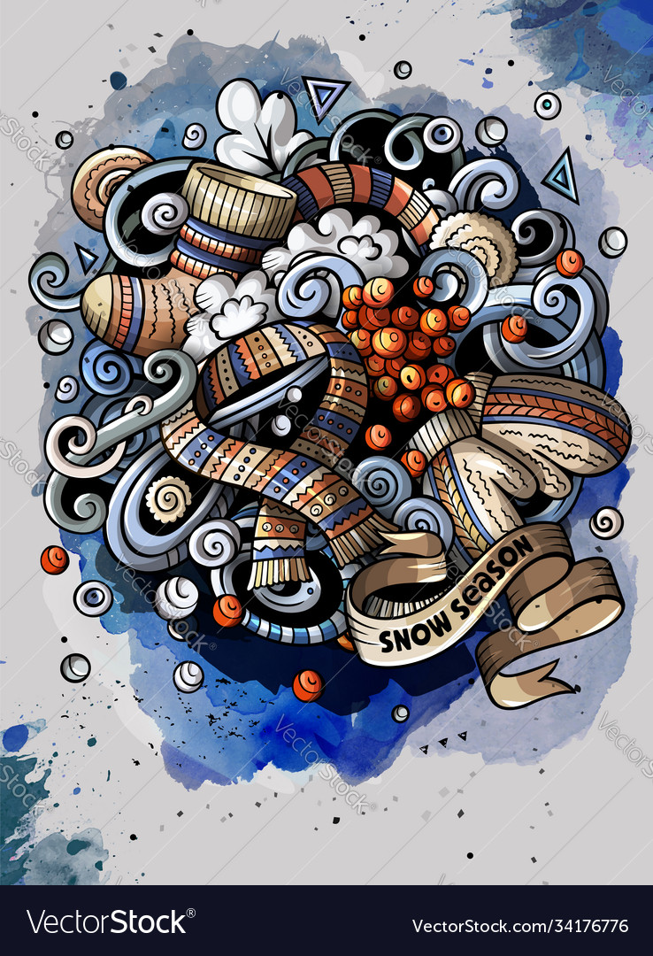 Cartoon watercolor doodles winter