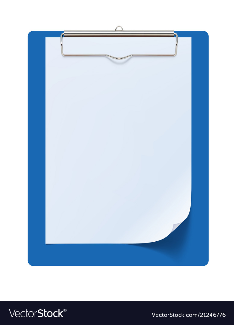 Clipboard with white sheet 3d