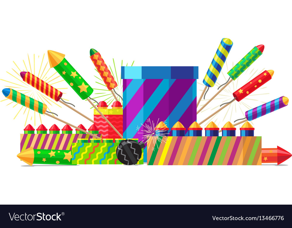Collection of different types of pyrotechnics vector image