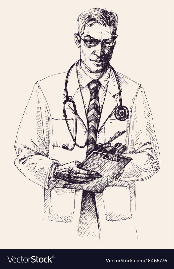 Doctor Portrait Drawing Royalty Free Vector Image