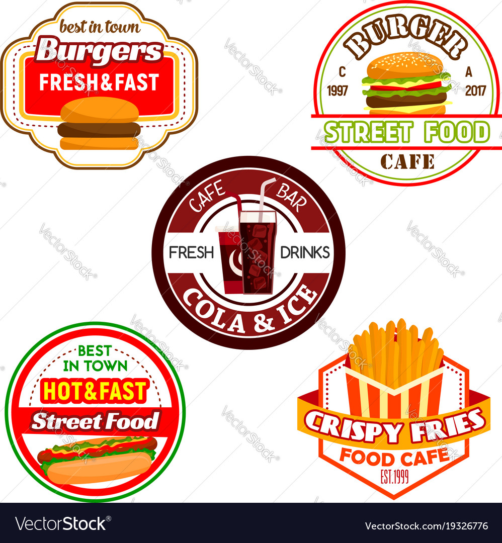 Fast food burger snack and soda drink label design